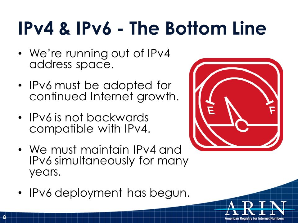 IPv4 & IPv6 - The Bottom Line Were running out of IPv4 address space. IPv6 must be adopted for continued Internet growth. IPv6 is not backwards compat