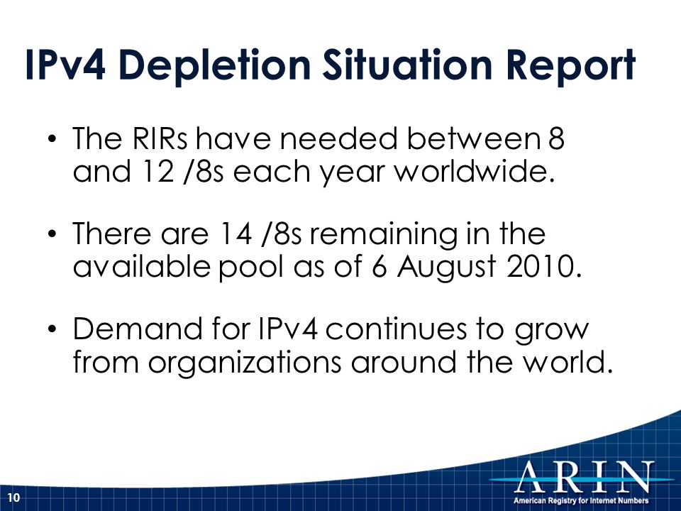 IPv4 Depletion Situation Report The RIRs have needed between 8 and 12 /8s each year worldwide. There are 14 /8s remaining in the available pool as of