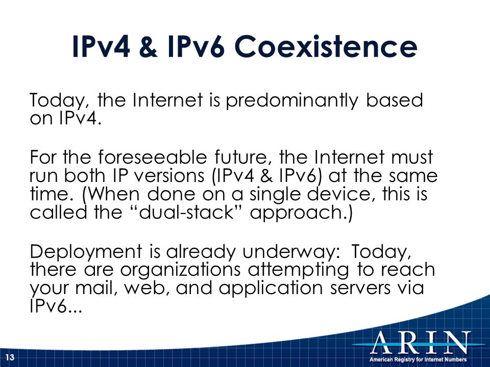 IPv4 & IPv6 Coexistence Today, the Internet is predominantly based on IPv4. For the foreseeable future, the Internet must run both IP versions (IPv4 &