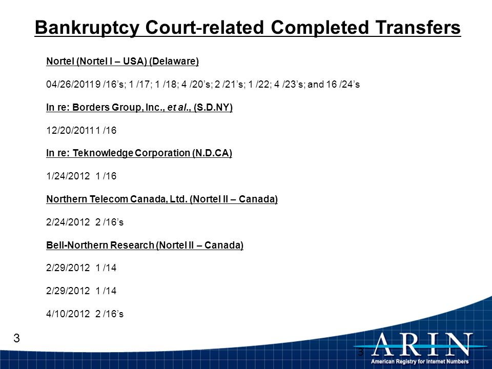 3 3 Bankruptcy Court-related Completed Transfers Nortel (Nortel I – USA) (Delaware) 04/26/20119 /16s; 1 /17; 1 /18; 4 /20s; 2 /21s; 1 /22; 4 /23s; and 16 /24s In re: Borders Group, Inc., et al., (S.D.NY) 12/20/20111 /16 In re: Teknowledge Corporation (N.D.CA) 1/24/2012 1 /16 Northern Telecom Canada, Ltd.