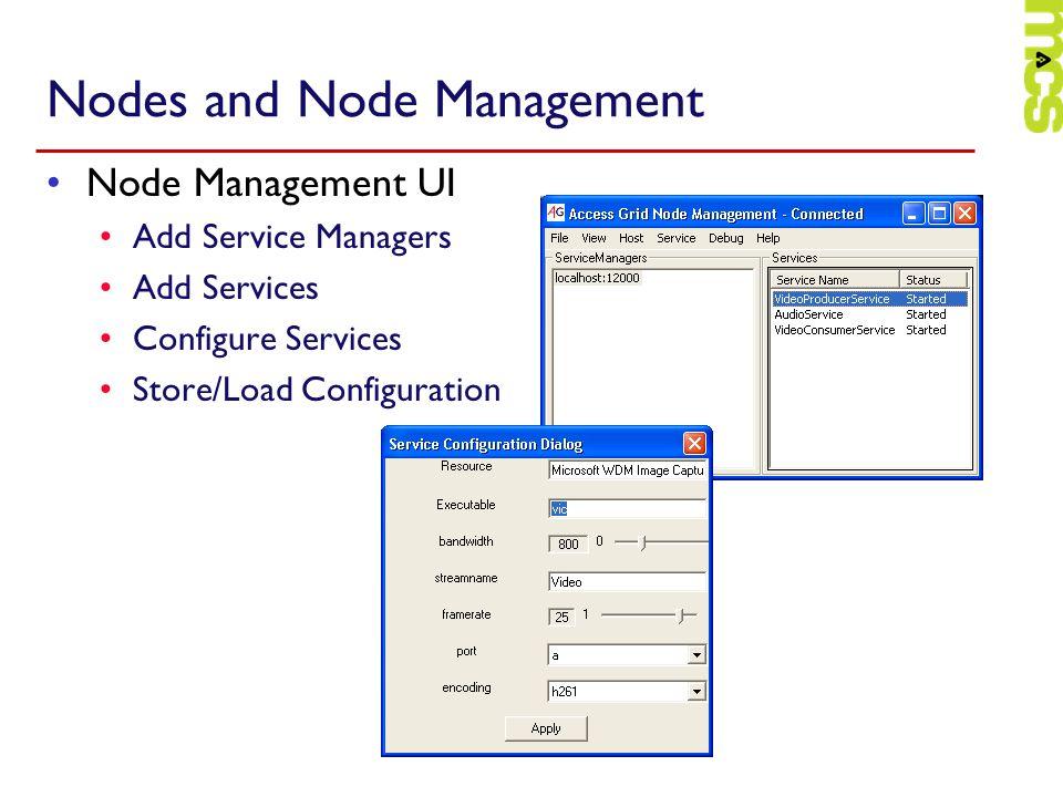 Nodes and Node Management Node Management UI Add Service Managers Add Services Configure Services Store/Load Configuration