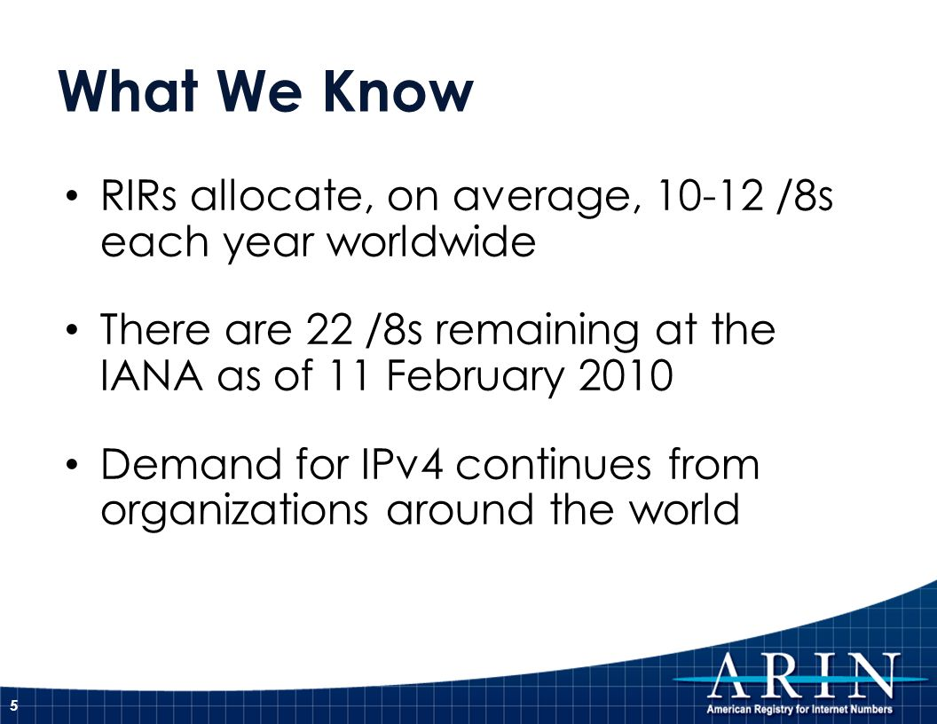What We Know RIRs allocate, on average, 10-12 /8s each year worldwide There are 22 /8s remaining at the IANA as of 11 February 2010 Demand for IPv4 co