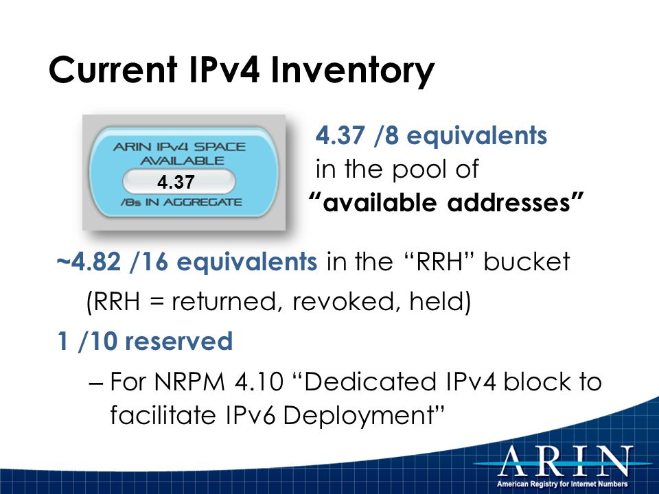 Current IPv4 Inventory ~4.82 /16 equivalents in the RRH bucket (RRH = returned, revoked, held) 1 /10 reserved – For NRPM 4.10 Dedicated IPv4 block to facilitate IPv6 Deployment 4.37 4.37 /8 equivalents in the pool of available addresses