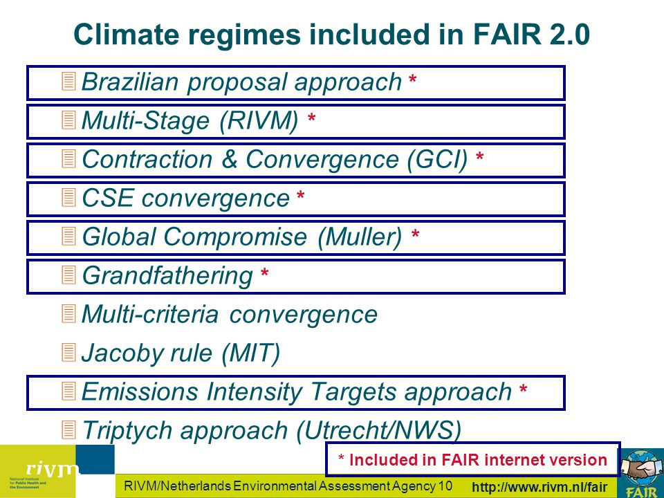 RIVM/Netherlands Environmental Assessment Agency 10 http://www.rivm.nl/fair Climate regimes included in FAIR 2.0 3Brazilian proposal approach * 3Multi-Stage (RIVM) * 3Contraction & Convergence (GCI) * 3CSE convergence * 3Global Compromise (Muller) * 3Grandfathering * 3Multi-criteria convergence 3Jacoby rule (MIT) 3Emissions Intensity Targets approach * 3Triptych approach (Utrecht/NWS) * Included in FAIR internet version