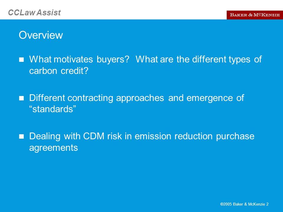 CCLaw Assist ©2005 Baker & McKenzie 3 What motivates buyers.