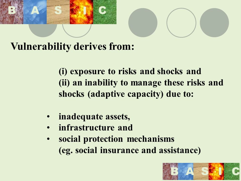 BASIC BAS I C Vulnerability derives from: (i) exposure to risks and shocks and (ii) an inability to manage these risks and shocks (adaptive capacity) due to: inadequate assets, infrastructure and social protection mechanisms (eg.
