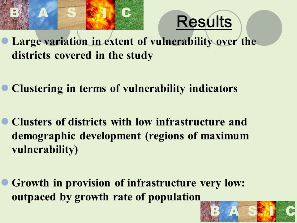 BASIC BAS I C Large variation in extent of vulnerability over the districts covered in the study Clustering in terms of vulnerability indicators Clusters of districts with low infrastructure and demographic development (regions of maximum vulnerability) Growth in provision of infrastructure very low: outpaced by growth rate of population Results