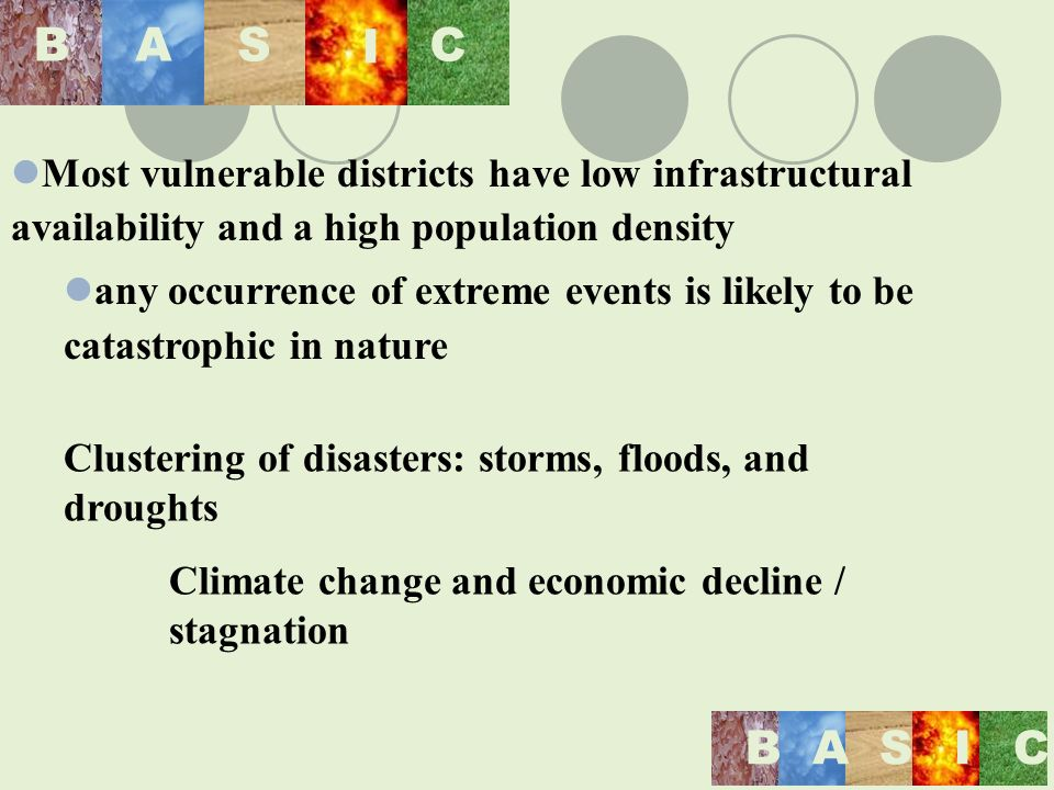 BASIC BAS I C Most vulnerable districts have low infrastructural availability and a high population density any occurrence of extreme events is likely