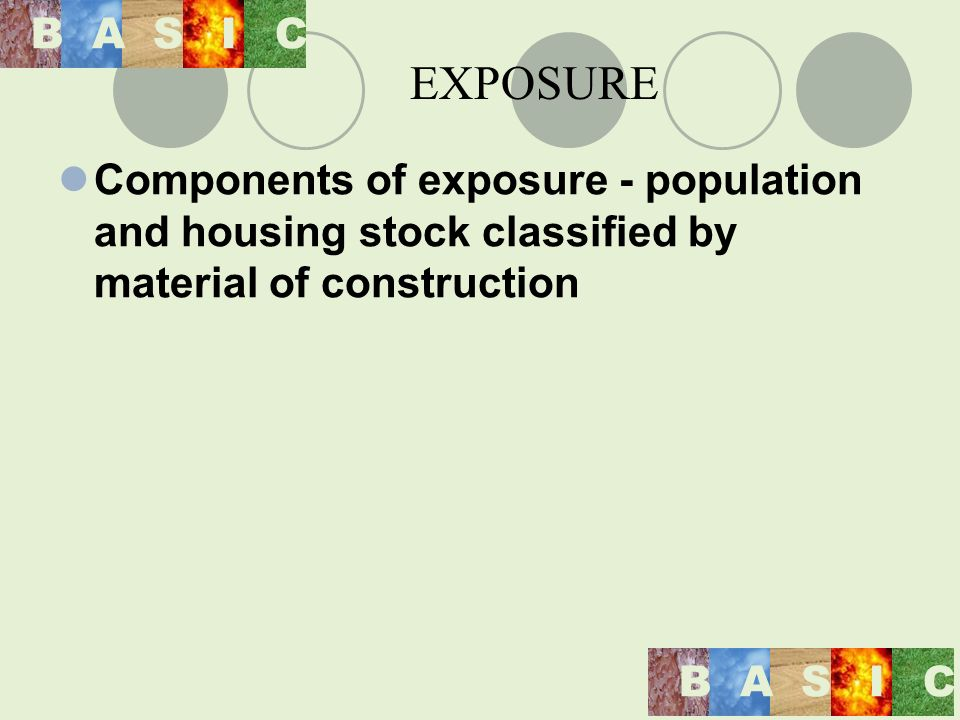 Components of exposure - population and housing stock classified by material of construction BASIC BASIC EXPOSURE