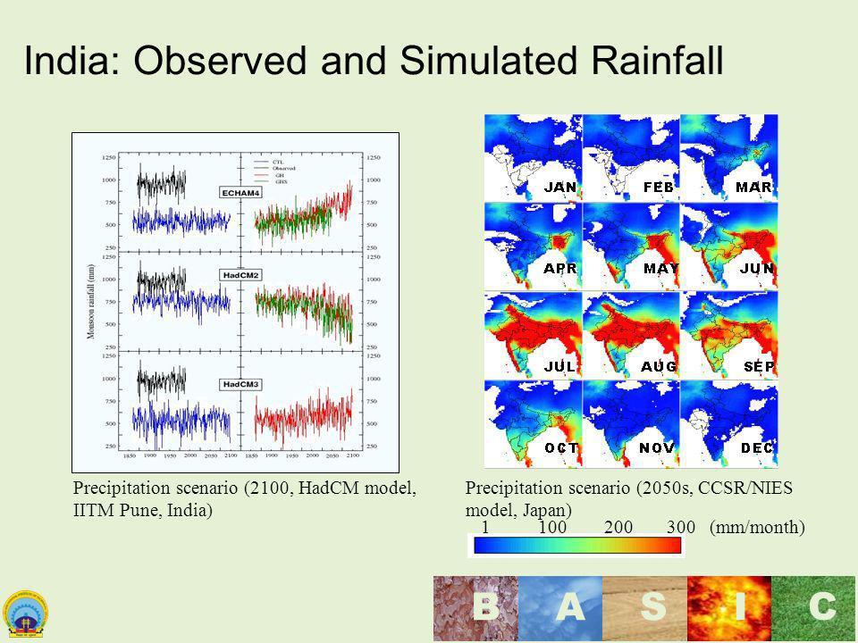 Maulana Azad National Institute of Technology, Bhopal, India BASI C India: Observed and Simulated Rainfall Precipitation scenario (2050s, CCSR/NIES mo