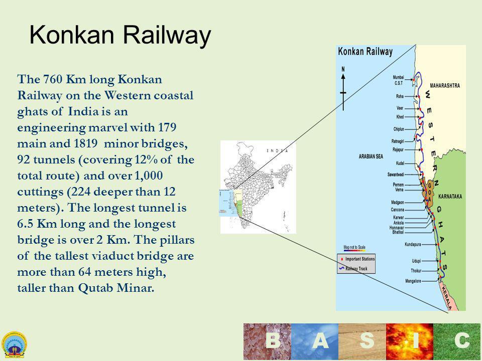 Maulana Azad National Institute of Technology, Bhopal, India BASI C Konkan Railway The 760 Km long Konkan Railway on the Western coastal ghats of Indi