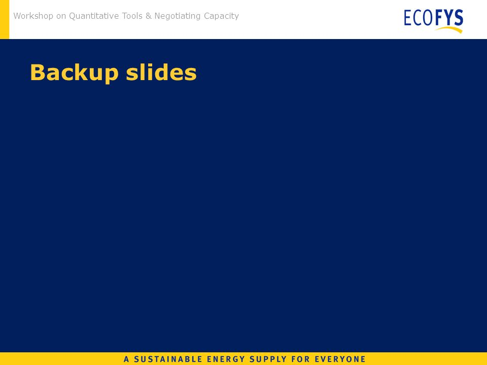 Workshop on Quantitative Tools & Negotiating Capacity Backup slides