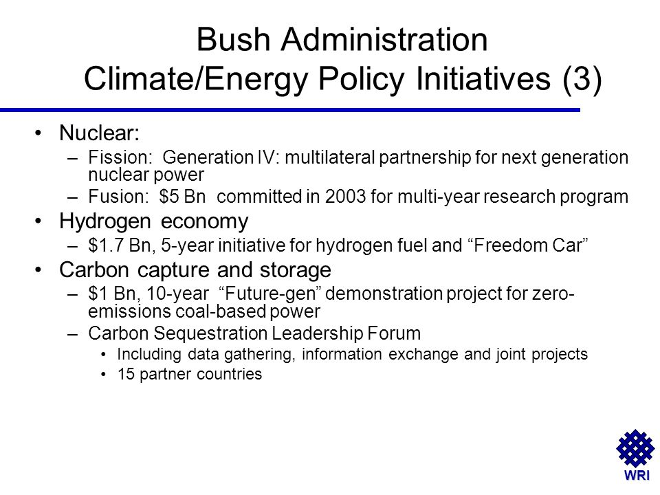 WRI Bush Administration Climate/Energy Policy Initiatives (3) Nuclear: –Fission: Generation IV: multilateral partnership for next generation nuclear power –Fusion: $5 Bn committed in 2003 for multi-year research program Hydrogen economy –$1.7 Bn, 5-year initiative for hydrogen fuel and Freedom Car Carbon capture and storage –$1 Bn, 10-year Future-gen demonstration project for zero- emissions coal-based power –Carbon Sequestration Leadership Forum Including data gathering, information exchange and joint projects 15 partner countries