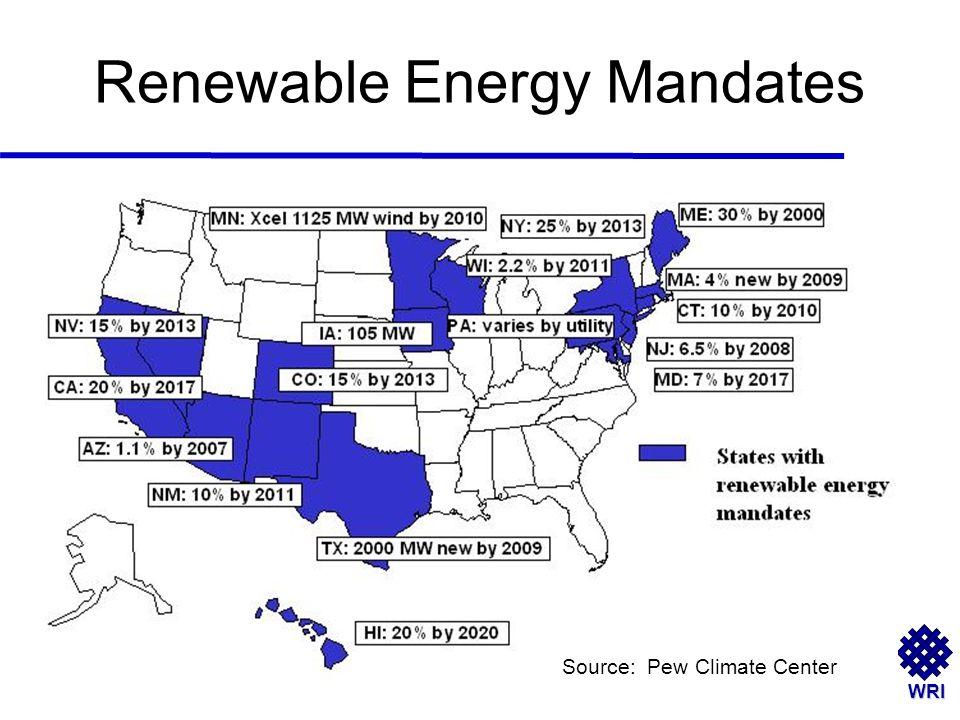WRI Renewable Energy Mandates Source: Pew Climate Center