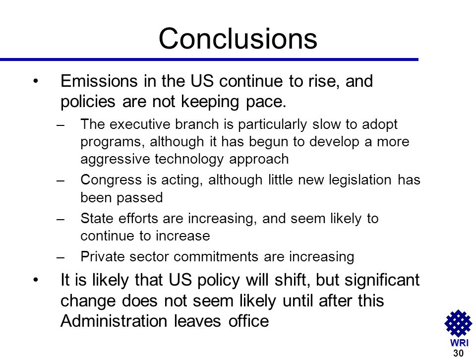 WRI Conclusions Emissions in the US continue to rise, and policies are not keeping pace.