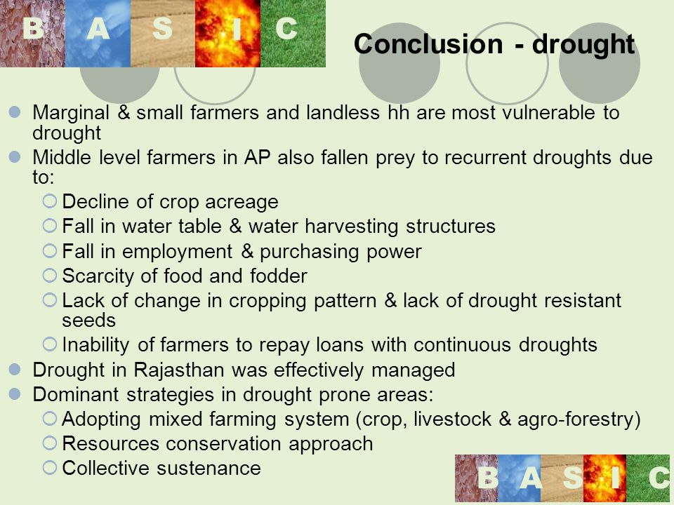 Conclusion - drought Marginal & small farmers and landless hh are most vulnerable to drought Middle level farmers in AP also fallen prey to recurrent droughts due to: Decline of crop acreage Fall in water table & water harvesting structures Fall in employment & purchasing power Scarcity of food and fodder Lack of change in cropping pattern & lack of drought resistant seeds Inability of farmers to repay loans with continuous droughts Drought in Rajasthan was effectively managed Dominant strategies in drought prone areas: Adopting mixed farming system (crop, livestock & agro-forestry) Resources conservation approach Collective sustenance BASIC BAS I C