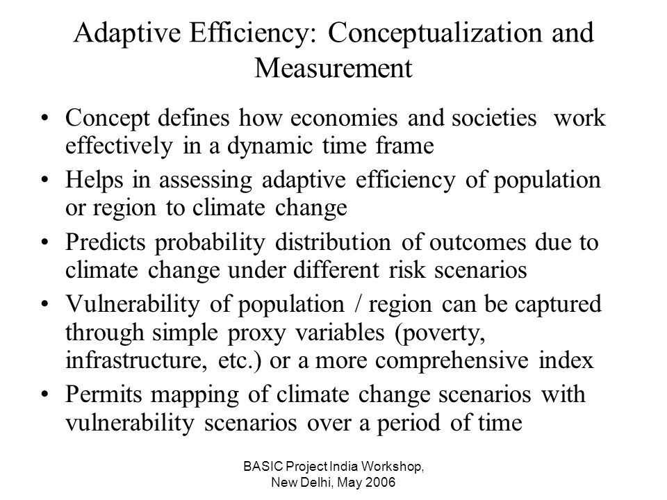 BASIC Project India Workshop, New Delhi, May 2006 Adaptive Efficiency: Conceptualization and Measurement Concept defines how economies and societies work effectively in a dynamic time frame Helps in assessing adaptive efficiency of population or region to climate change Predicts probability distribution of outcomes due to climate change under different risk scenarios Vulnerability of population / region can be captured through simple proxy variables (poverty, infrastructure, etc.) or a more comprehensive index Permits mapping of climate change scenarios with vulnerability scenarios over a period of time
