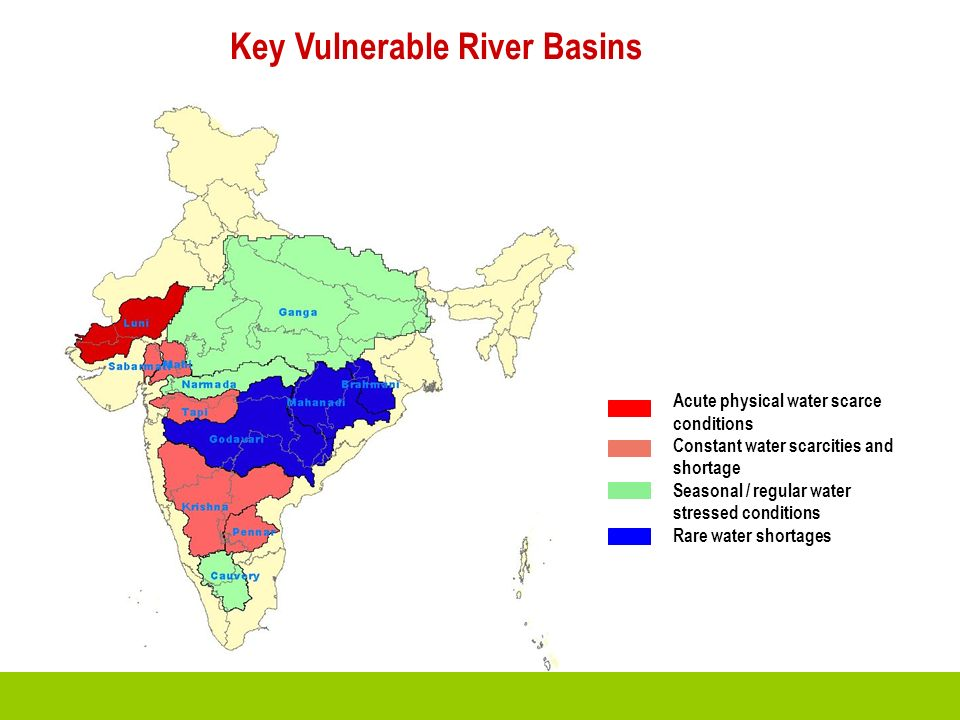 Acute physical water scarce conditions Constant water scarcities and shortage Seasonal / regular water stressed conditions Rare water shortages Key Vu