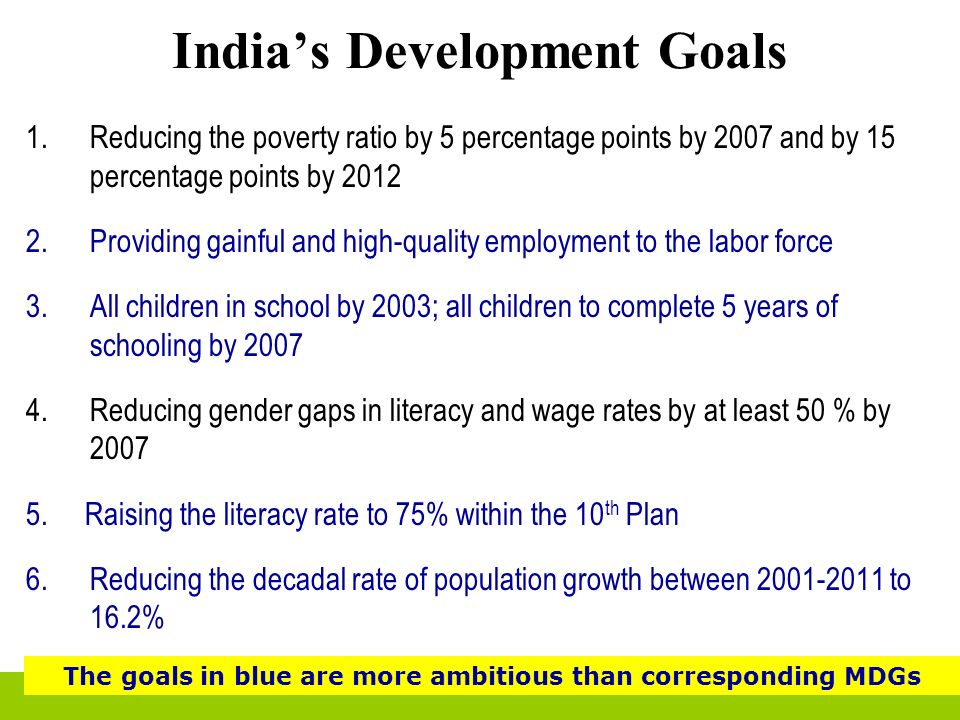 Indias Development Goals 1.Reducing the poverty ratio by 5 percentage points by 2007 and by 15 percentage points by 2012 2.Providing gainful and high-
