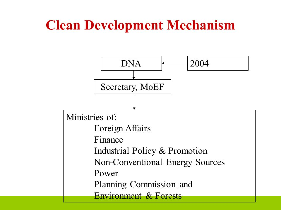 Clean Development Mechanism DNA2004 Secretary, MoEF Ministries of: Foreign Affairs Finance Industrial Policy & Promotion Non-Conventional Energy Sourc