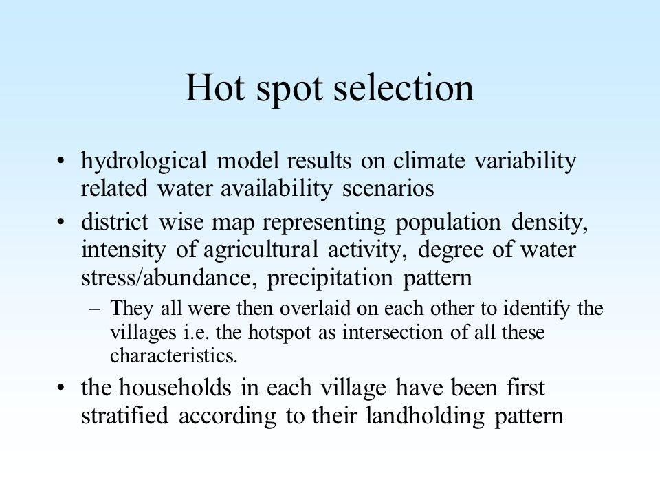 Hot spot selection hydrological model results on climate variability related water availability scenarios district wise map representing population de