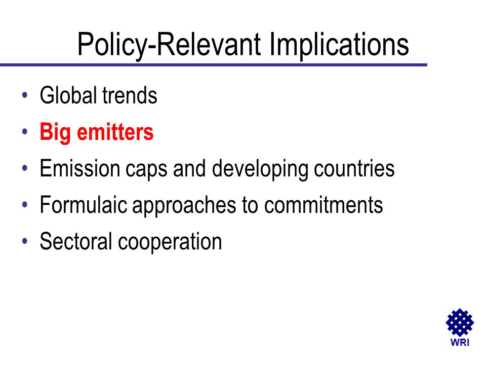 WRI Global trends Big emitters Emission caps and developing countries Formulaic approaches to commitments Sectoral cooperation Policy-Relevant Implica
