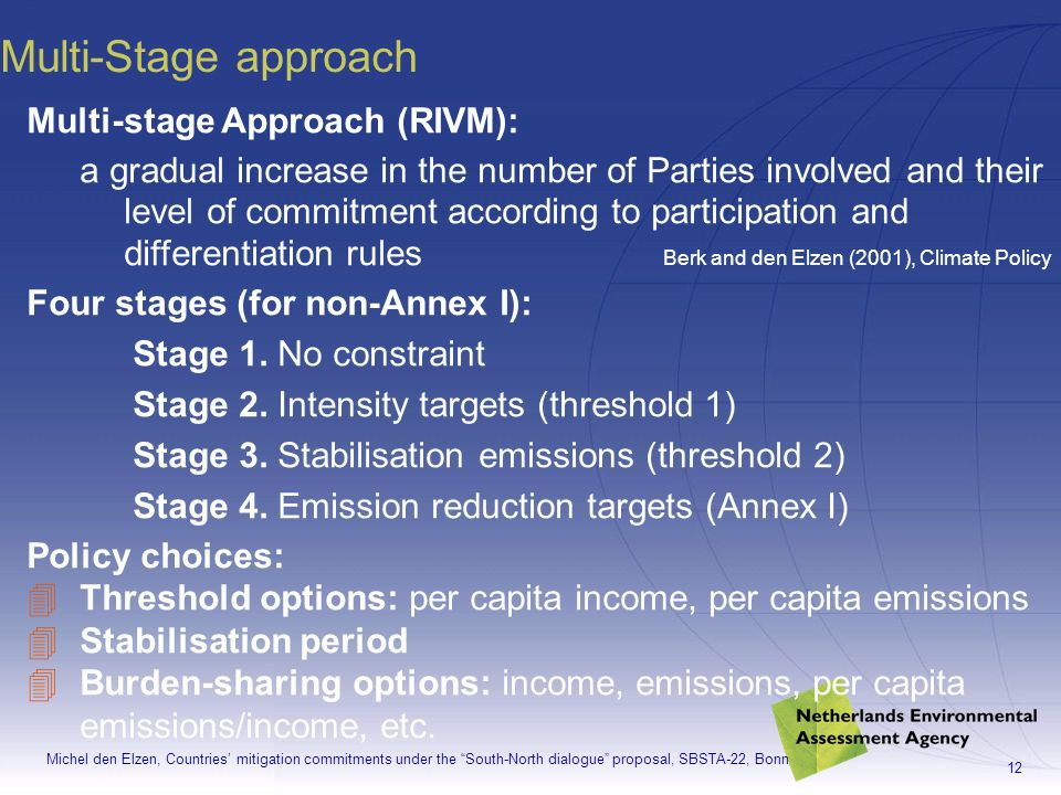 Michel den Elzen, Countries mitigation commitments under the South-North dialogue proposal, SBSTA-22, Bonn 12 Multi-Stage approach Multi-stage Approach (RIVM): a gradual increase in the number of Parties involved and their level of commitment according to participation and differentiation rules Berk and den Elzen (2001), Climate Policy Four stages (for non-Annex I): Stage 1.