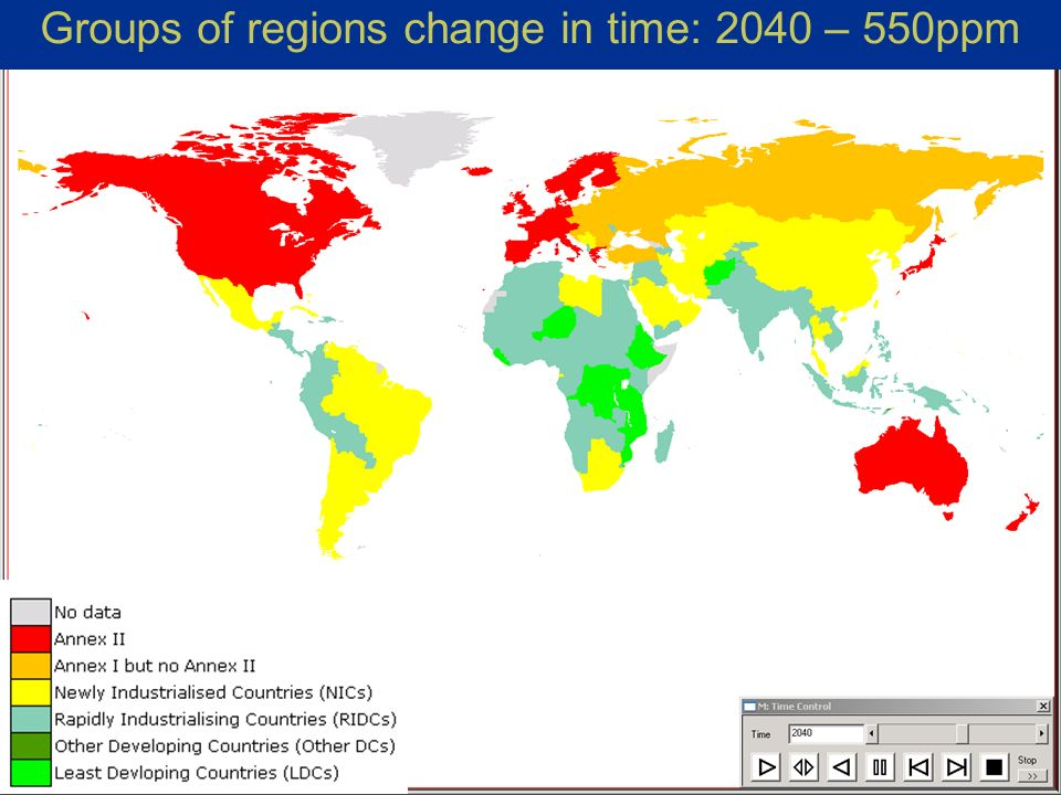 Michel den Elzen, Countries mitigation commitments under the South-North dialogue proposal, SBSTA-22, Bonn 26 Groups of regions change in time: 2040 – 550ppm