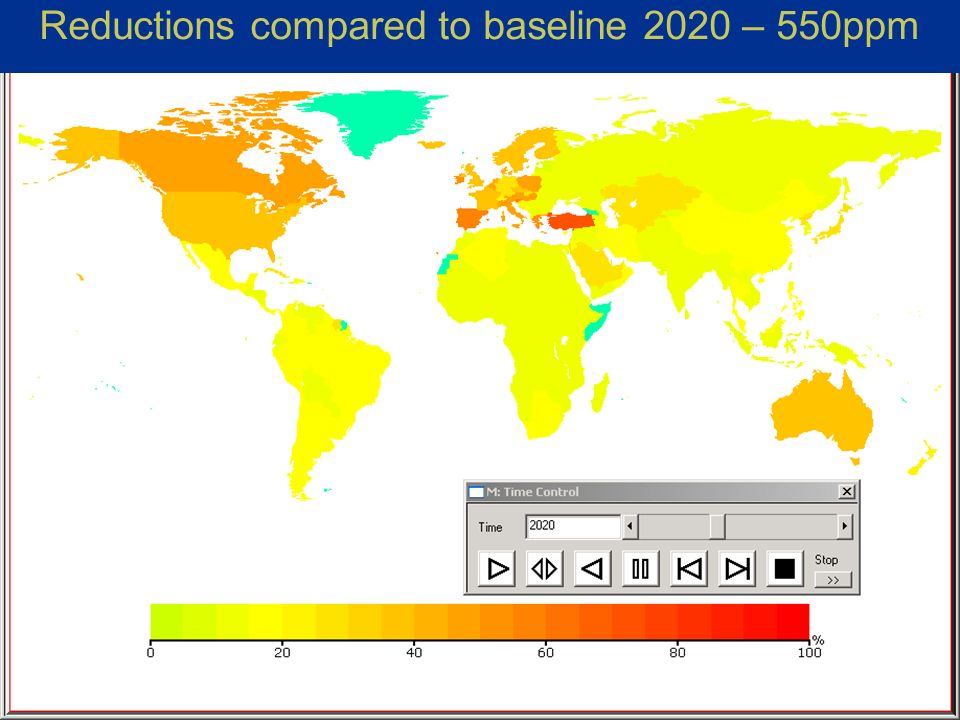 Michel den Elzen, Countries mitigation commitments under the South-North dialogue proposal, SBSTA-22, Bonn 30 Reductions compared to baseline 2020 – 550ppm
