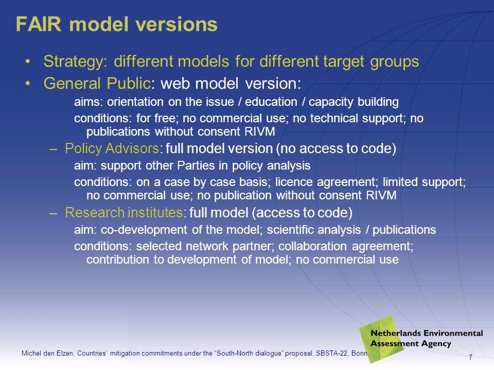 Michel den Elzen, Countries mitigation commitments under the South-North dialogue proposal, SBSTA-22, Bonn 8 Part 1:FAIR 2.0 model
