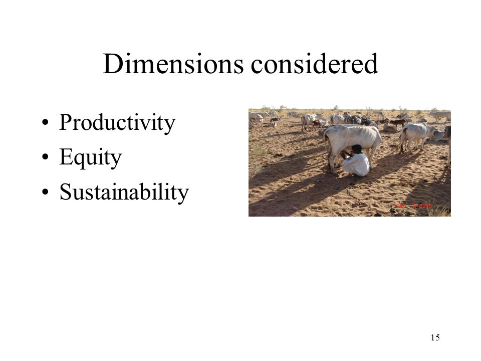 15 Dimensions considered Productivity Equity Sustainability