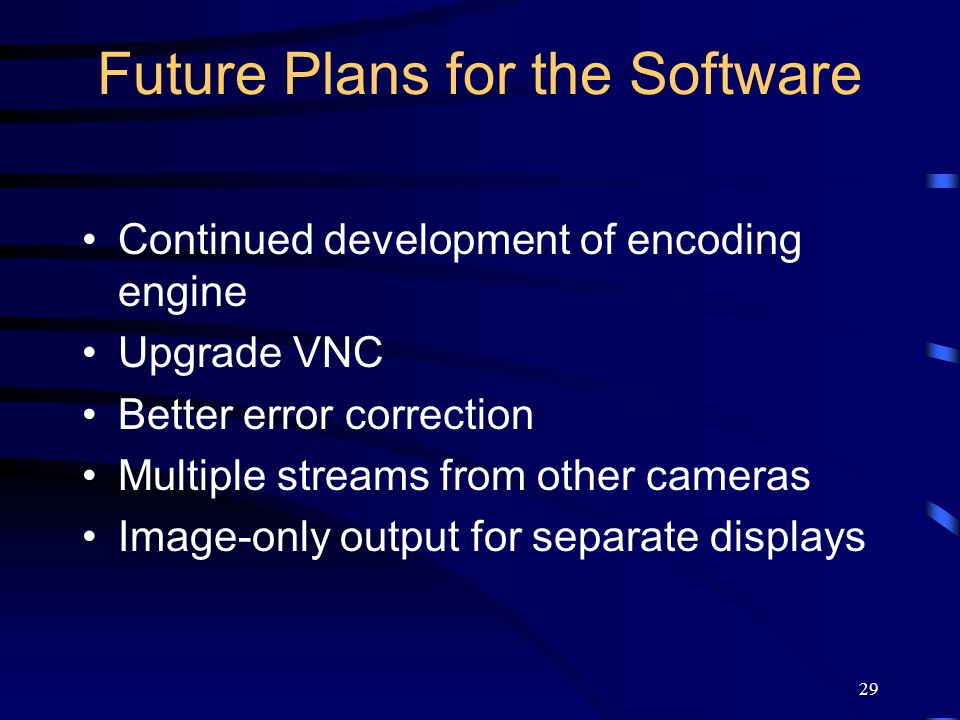 29 Future Plans for the Software Continued development of encoding engine Upgrade VNC Better error correction Multiple streams from other cameras Image-only output for separate displays