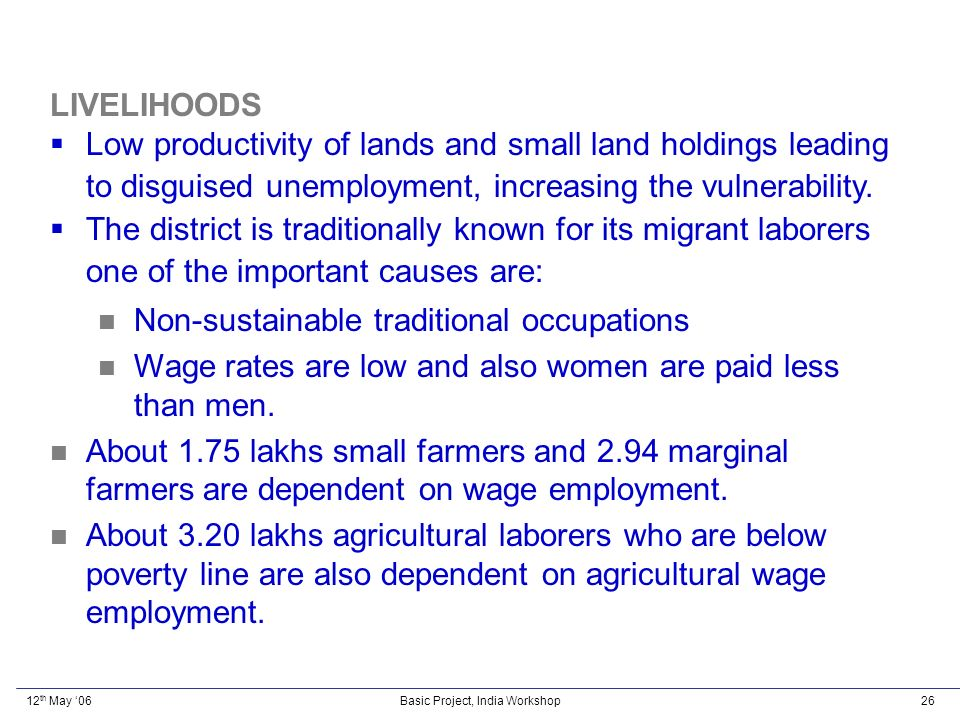 12 th May 06Basic Project, India Workshop26 LIVELIHOODS Low productivity of lands and small land holdings leading to disguised unemployment, increasing the vulnerability.