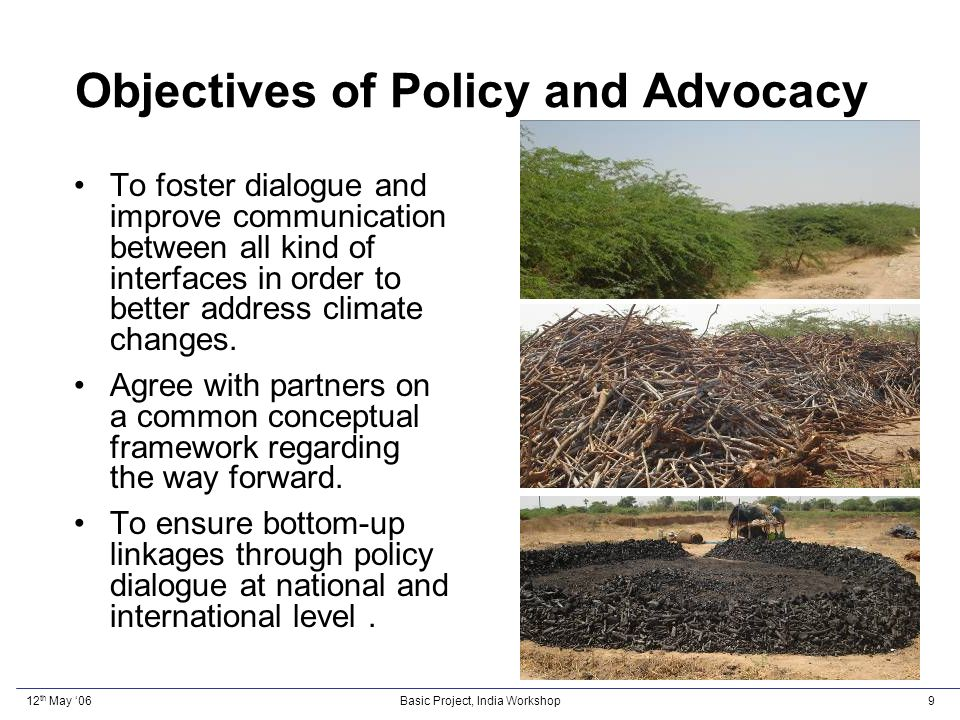 12 th May 06Basic Project, India Workshop20 Research Vulnerability Profile Knowledge Gaps Appropriate technologies Situational Analysis Document- ation of Best Practices Review of Institutional Functions, Policies