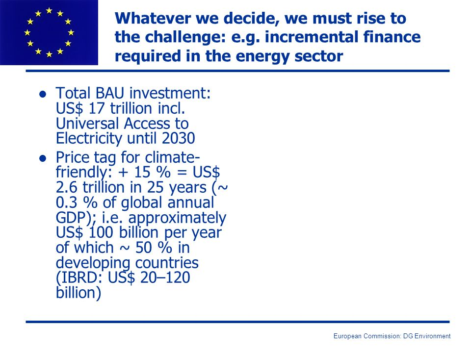 European Commission: DG Environment l Total BAU investment: US$ 17 trillion incl.