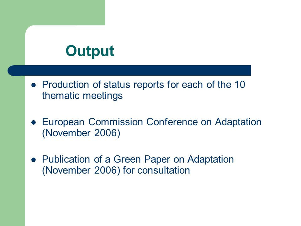 Output Production of status reports for each of the 10 thematic meetings European Commission Conference on Adaptation (November 2006) Publication of a Green Paper on Adaptation (November 2006) for consultation