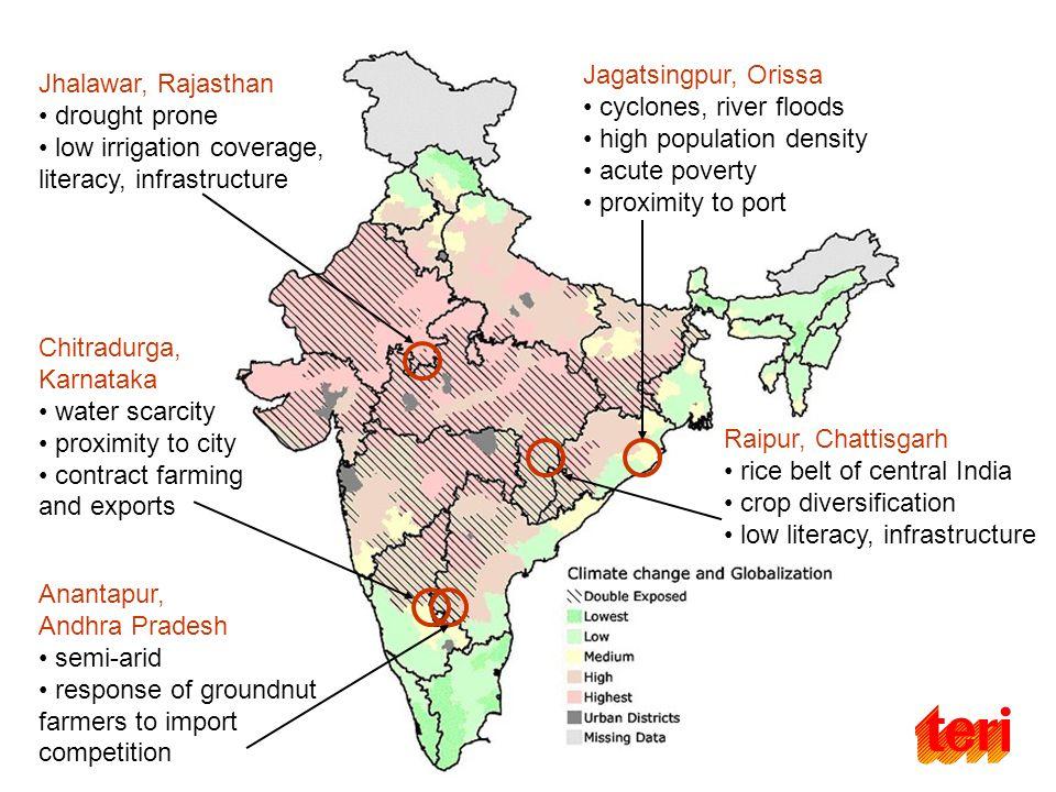 Jhalawar, Rajasthan drought prone low irrigation coverage, literacy, infrastructure Chitradurga, Karnataka water scarcity proximity to city contract f