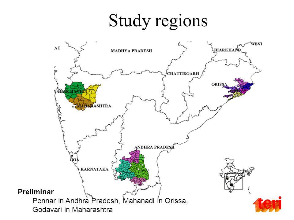 Preliminary discussions and consultations Pennar in Andhra Pradesh, Mahanadi in Orissa, Godavari in Maharashtra Study regions