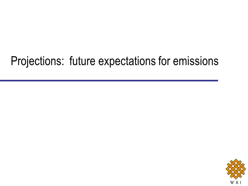 Projections: future expectations for emissions
