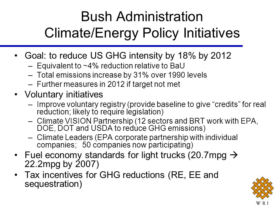Bush Administration Climate/Energy Policy Initiatives Goal: to reduce US GHG intensity by 18% by 2012 –Equivalent to ~4% reduction relative to BaU –To