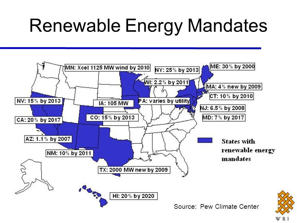 Renewable Energy Mandates Source: Pew Climate Center