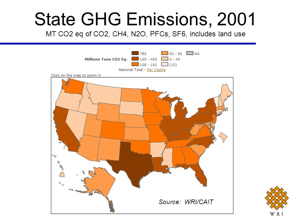 State GHG Emissions, 2001 MT CO2 eq of CO2, CH4, N2O, PFCs, SF6, includes land use Source: WRI/CAIT