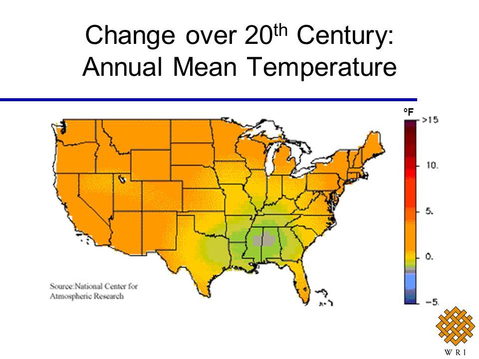 Change over 20 th Century: Annual Mean Temperature ºF
