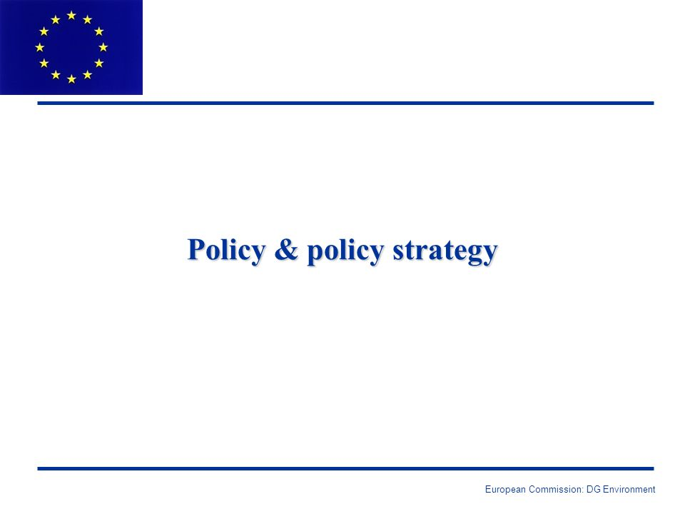 European Commission: DG Environment Policy & policy strategy