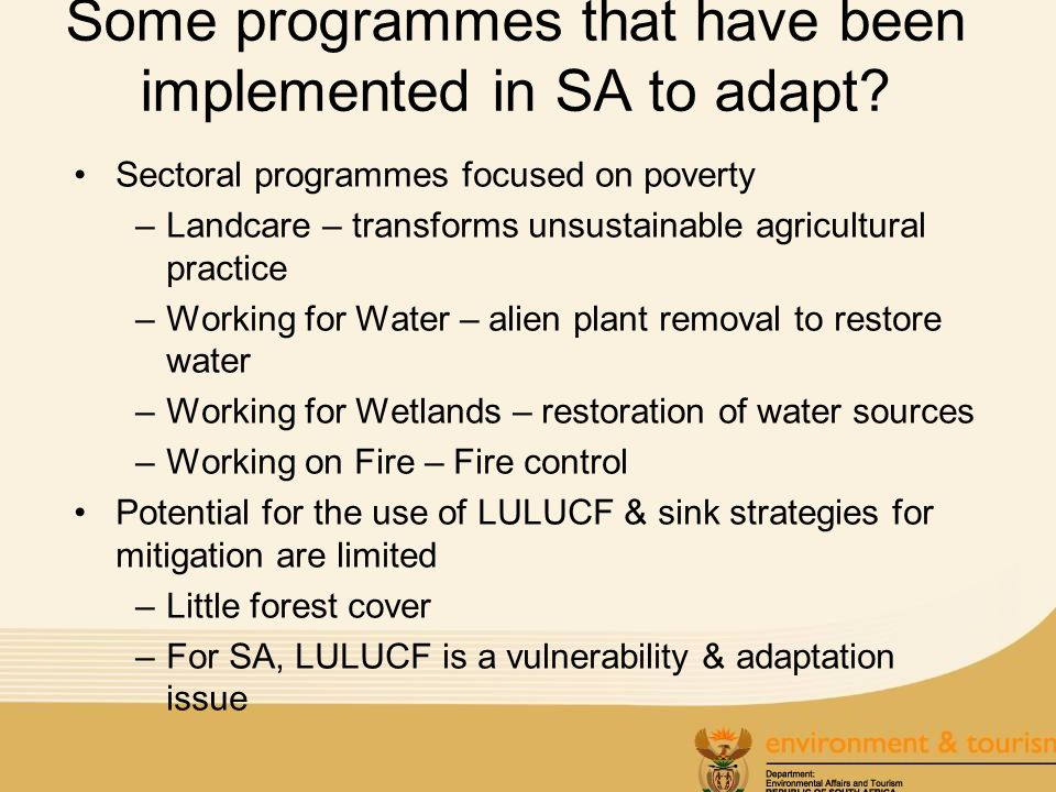 Some programmes that have been implemented in SA to adapt.