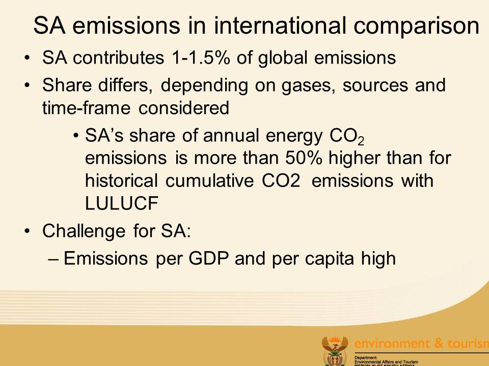 SA emissions in international comparison SA contributes 1-1.5% of global emissions Share differs, depending on gases, sources and time-frame considered SAs share of annual energy CO 2 emissions is more than 50% higher than for historical cumulative CO2 emissions with LULUCF Challenge for SA: –Emissions per GDP and per capita high
