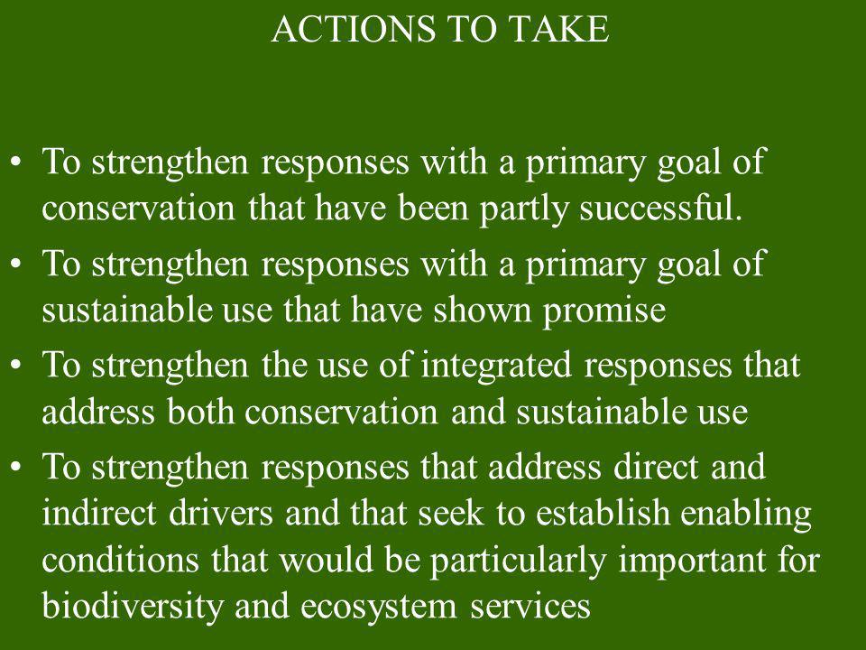 ACTIONS TO TAKE To strengthen responses with a primary goal of conservation that have been partly successful. To strengthen responses with a primary g