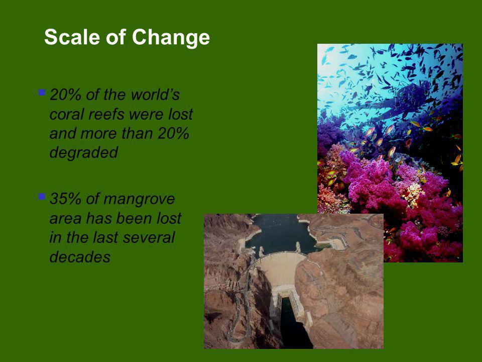 20% of the worlds coral reefs were lost and more than 20% degraded 35% of mangrove area has been lost in the last several decades Scale of Change