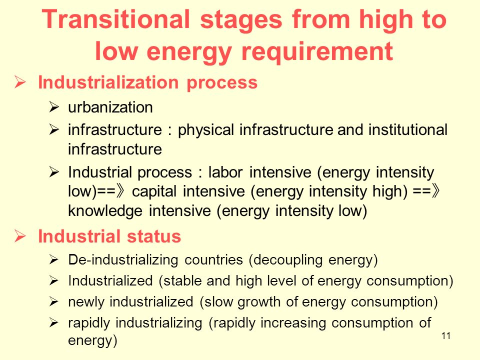 11 Transitional stages from high to low energy requirement Industrialization process urbanization infrastructure physical infrastructure and instituti