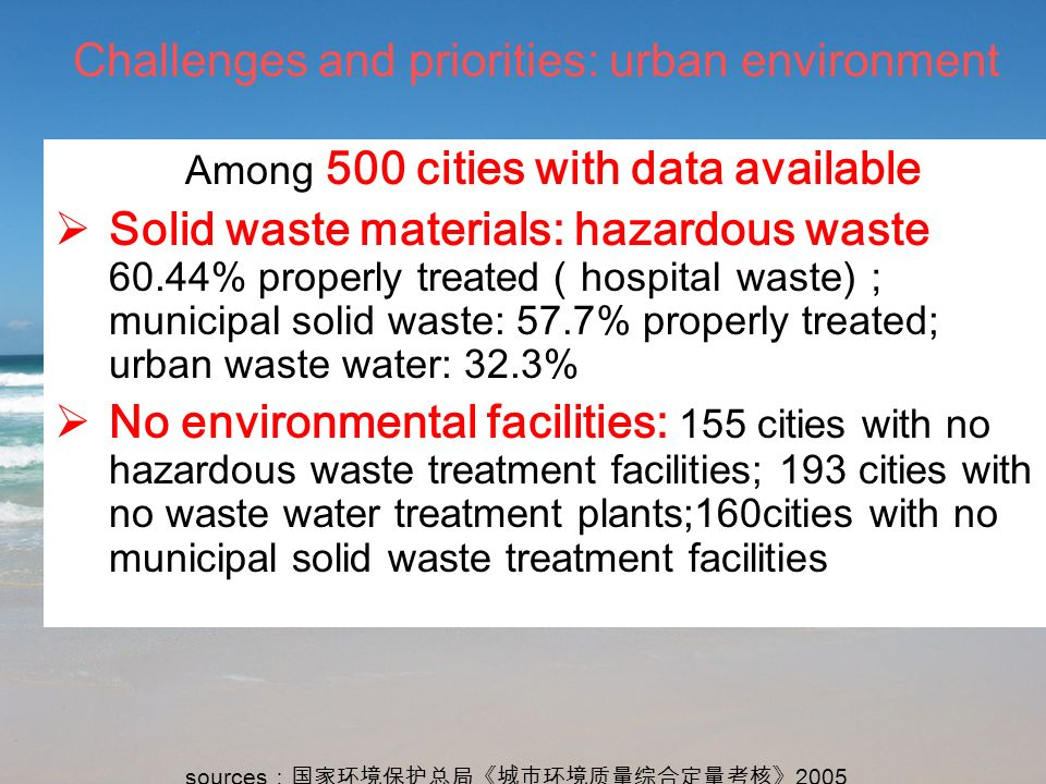 5 Challenges and priorities: urban environment Among 500 cities with data available Solid waste materials: hazardous waste 60.44% properly treated hos